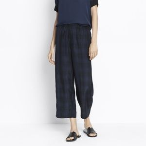 Vince Plaid Slouchy Crop Pants Coastal Blue Navy
